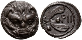 BRUTTIUM. Rhegion. Circa 415/0-387 BC. Litra (Silver, 10 mm, 0.70 g, 2 h). Lion's mask facing. Rev. PH within olive sprig. Herzfelder pl. XI, J. HN It...