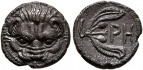 BRUTTIUM. Rhegion. Circa 415/0-387 BC. Litra (Silver, 10 mm, 0.78 g, 2 h). Lion's mask facing. Rev. PH within olive sprig. Herzfelder pl. XI, J. HN It...