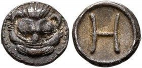 BRUTTIUM. Rhegion. Circa 415/0-387 BC. Hemilitron (Silver, 8 mm, 0.33 g, 12 h). Lion's mask facing. Rev. H (value mark). Herzfelder pl. XI, K. HN Ital...