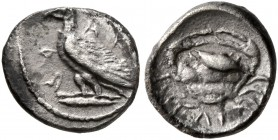 SICILY. Akragas. Circa 450-446/39 BC. Litra (Silver, 9 mm, 0.50 g, 2 h). AK-A R Eagle standing left on a Ionic capital. Rev. ΛI Crab. HGC 2, 121. SNG ...