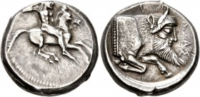 SICILY. Gela. Circa 480/75-475/70 BC. Stater (Silver, 19 mm, 8.74 g, 1 h). Bearded horseman, nude, riding right, brandishing spear held in his upraise...