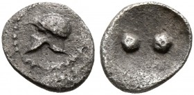 SICILY. Himera. Circa 475-450 BC. Hexas - Dionkion (Silver, 6 mm, 0.13 g). Corinthian helmet to left. Rev. •• (value mark) within shallow round incuse...