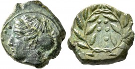 SICILY. Himera. Circa 415-409 BC. Hemilitron (Bronze, 17 mm, 3.92 g, 4 h). IME Head of nymph to left; before, six pellets. Rev. Six pellets within lau...