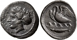 SICILY. Kamarina. Circa 410-405 BC. Litra (Silver, 13 mm, 0.82 g, 2 h). KAMAPINA Head of the nymph Kamarina to left, wearing sphendone decorated with ...