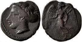 SICILY. Kamarina. Circa 410-405 BC. Litra (Silver, 11 mm, 0.73 g, 12 h). [KAMA] Head of Arethusa to left, her hair bound up in a sakkos, wearing a sim...