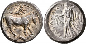 SICILY. Katane. Circa 461-450 BC. Tetradrachm (Silver, 26 mm, 16.84 g, 10 h). River god Amenanos, in the form of a man-headed bull, walking to right; ...
