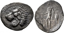 SICILY. Leontini. Circa 450-430 BC. Litra (Silver, 14 mm, 0.60 g, 9 h). ΛEON Head of a roaring lion to left. Rev. Apollo standing left, holding olive ...
