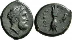 SICILY. Leontini. After 357 BC. Hemidrachm (Bronze, 21x25 mm, 11.58 g, 10 h). [ΞE]Y[Σ EΛEYΘEPIOΣ] Laureate head of Zeus Eleutherios to right. Rev. ΛEO...