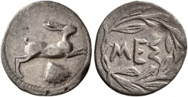 SICILY. Messana. 420-413 BC. Litra (Silver, 13 mm, 0.64 g, 5 h). Hare springing right; shell below. Rev. MEΣ within wreath. Caltabiano 569. SNG ANS 34...