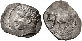 SICILY. Panormos (as Ziz). Circa 405-380 BC. Litra (Silver, 11 mm, 0.44 g, 3 h). Male head to left. Rev. 'sb'lsys' (in Punic) Man-headed bull advancin...
