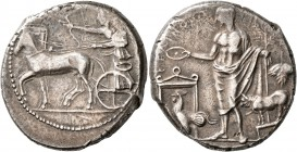 SICILY. Selinos. Circa 455-409 BC. Tetradrachm (Silver, 27 mm, 17.52 g, 12 h). Apollo and Artemis standing left in a quadriga moving slowly to left; A...