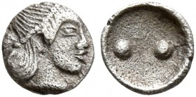 SICILY. Syracuse. Deinomenid Tyranny , 485-466 BC. Hexas - Dionkion (Silver, 5 mm, 0.10 g), circa 480-470. Head of Arethusa to right, wearing pearl di...