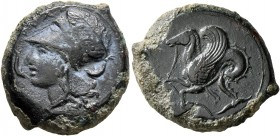 SICILY. Syracuse. Dionysios I , 405-367 BC. Litra (Bronze, 21 mm, 8.38 g, 7 h). ΣYPA Head of Athena to left, wearing Corinthian helmet decorated with ...