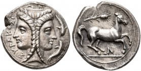 SICILY. Syracuse. Timoleon and the Third Democracy , 344-317 BC. Dilitron (Silver, 13 mm, 1.56 g, 3 h). ΣΥΡΑΚΟΣΙΩΝ Janiform female head, wearing polos...