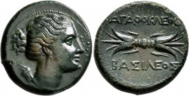 SICILY. Syracuse. Agathokles , 317-289 BC. Litra (Bronze, 22 mm, 8.31 g, 11 h), circa 304-289. ΣΩTEIPA Draped bust of Artemis Soteira to right, quiver...