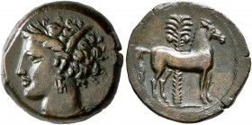 CARTHAGE. Circa 400-350 BC. AE (Bronze, 15 mm, 3.34 g, 5 h). Head of Tanit to left, wearing wreath of grain ears. Rev. Horse standing right; palm tree...