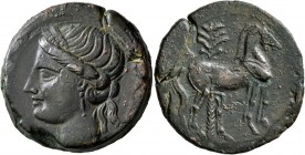 CARTHAGE. Second Punic War. Circa 220-215 BC. Trishekel (Bronze, 29 mm, 18.43 g, 1 h). Head of Tanit to left, wearing wreath of grain ears. Rev. Horse...