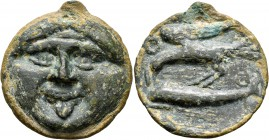 SKYTHIA. Olbia. Circa 400-350 BC. Cast unit (Bronze, 35 mm, 22.11 g, 12 h). Facing gorgoneion. Rev. O-Λ/B-I Sea eagle flying left, wings raised, holdi...