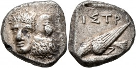 MOESIA. Istros. Late 5th century BC. Drachm (Silver, 18 mm, 5.80 g, 12 h). Two facing male heads side by side, one upright and the other inverted. Rev...