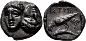 MOESIA. Istros. Late 5th-4th centuries BC. Drachm (Silver, 18 mm, 5.74 g). Two facing male heads side by side, one upright and the other inverted. Rev...