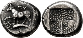 THRACE. Byzantion. Circa 387/6-340 BC. Tetradrachm (Silver, 22 mm, 15.09 g). ΠY / B Bull standing on dolphin left, right foreleg raised; below foreleg...