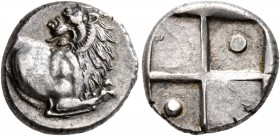 THRACE. Chersonesos. Circa 386-338 BC. Hemidrachm (Silver, 12 mm, 2.28 g). Forepart of a lion to right, head turned back to left. Rev. Quadripartite i...