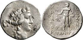 THRACE. Maroneia. Circa 189/8-49/5 BC. Tetradrachm (Silver, 30 mm, 16.72 g, 12 h). Head of Dionysos to right, wearing ivy-wreath. Rev. ΔIONYΣOY - ΣΩTH...
