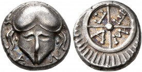 THRACE. Mesambria. 4th century BC. Diobol (Silver, 10 mm, 1.31 g). A-Λ Facing Corinthian helmet. Rev. M-E-T-A within spokes of wheel; rays around. SNG...