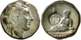 THRACE. Odessos. Circa 281-270 BC. AE (Bronze, 17 mm, 5.18 g, 6 h). Diademed female head to right. Rev. The Great God reclining left on plinth inscrib...