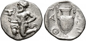 ISLANDS OFF THRACE, Thasos. Circa 411-340 BC. Trihemiobol (Silver, 12 mm, 0.83 g, 5 h). Bald satyr kneeling to left, holding kantharos in his right ha...