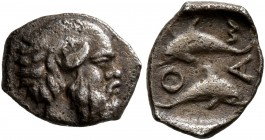 ISLANDS OFF THRACE, Thasos. Circa 411-340 BC. Hemiobol (Silver, 9 mm, 0.46 g, 9 h). Head of bald and bearded satyr to right. Rev. Θ-Α-Σ-I Two dolphins...