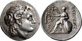 KINGS OF THRACE. Lysimachos, 305-281 BC. Tetradrachm (Silver, 31 mm, 17.08 g, 1 h), Lampsakos, circa 297/6-282/1 BC. Diademed head of Alexander the Gr...
