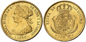 1861. Isabel II. Madrid. 100 reales. (Cal. 26). 8,34 g. Leves golpecitos. Parte de brillo original. EBC-.
