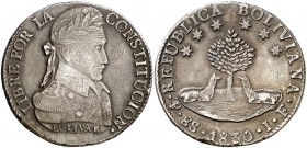 1830. Bolivia. PTS (Potosí). JF. 8 soles. (Kr. 97). 26,69 g. AG. Rayitas y golpecitos. MBC/MBC+.