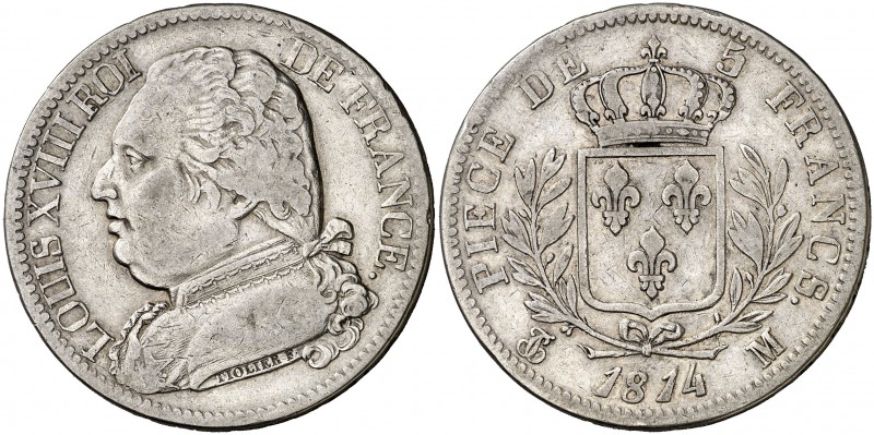 1814. Francia. Luis XVIII. M (Toulouse). 5 francos. (Kr. 702.9). 24,69 g. AG. MB...