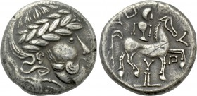 "EASTERN EUROPE. Imitations of Audoleon (2nd-1st centuries BC). Tetradrachm. ""Y auf Postament"" type."