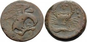 SICILY. Akragas . Circa 420-406 BC. Tetras (Bronze, 26 mm, 12.14 g, 9 h), c. 413-406. AKPA Eagle right, clutching dead hare in its talons. Rev. Crab; ...