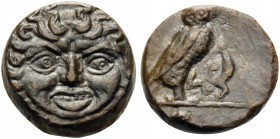 SICILY. Kamarina . Circa 420-405 BC. Onkia (Bronze, 11 mm, 1.49 g, 4 h). Facing gorgoneion. Rev. [KAMA] Owl standing right, head facing, grasping liza...