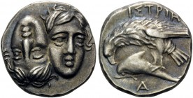 MOESIA. Istros . Circa 280-256/5 BC. Drachm (Silver, 18 mm, 5.70 g, 12 h). Two facing male heads side by side, one upright and the other inverted - a ...