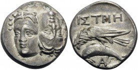 MOESIA. Istros . Circa 256/5-240 BC. Drachm (Silver, 19 mm, 4.98 g, 12 h). Two facing male heads side by side, one upright and the other inverted. Rev...