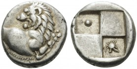 THRACE. Chersonesos . Circa 386-338 BC. Hemidrachm (Silver, 12 mm, 2.42 g). Forepart of lion to right, head turned to left. Rev. Quadripartite incuse ...
