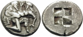 ISLANDS OFF THRACE, Thasos. Circa 480-463 BC. Stater (Silver, 21 mm, 8.56 g). Nude, ithyphallic satyr rushing to right in the archaic kneeling-running...