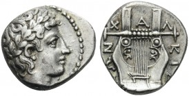 MACEDON, Chalkidian League. Circa 432-348 BC. Tetrobol (Silver, 14 mm, 2.33 g, 3 h), Olynthos. Laureate head of Apollo to right. Rev. ΧΑΛΚΙΔΕΩΝ Kithar...