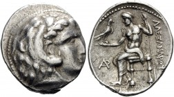 KINGS OF MACEDON. Alexander III 'the Great', 336-323 BC. Tetradrachm (Silver, 30 mm, 17.18 g, 12 h), Byblos, c. 330-320. Head of youthful Herakles in ...