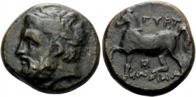 THESSALY. Gyrton . Circa 400-344 BC. Trichalkon (Bronze, 20 mm, 8.48 g, 2 h). Laureate head of Zeus to left. Rev. ΓΥΡΤ-ΩΝΙΩΝ (partially retrograde) Ho...