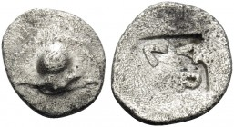 THESSALY. Larissa . Circa 500-479 BC. Hemiobol (Silver, 8.5 mm, 0.35 g). Petasos of Jason. Rev. ΛARI within incuse square. BCD I Thessaly 1100. BCD Th...