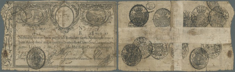 Portugal: 2400 Reis 1799 P. 9, strong used, taped horizontally and vertically on...