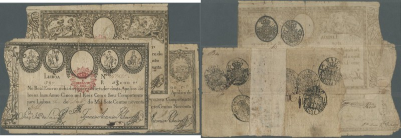 Portugal: set of 3 different notes 5000 Reis 1826 P. 23, 24, 25, all used with b...