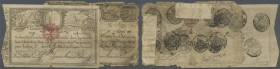 Portugal: set of 2 different notes 10.000 Reis 1826 P. 26,28. The P. 26 is strong used (condition: G), the P. 28 is still in nice condition for this t...