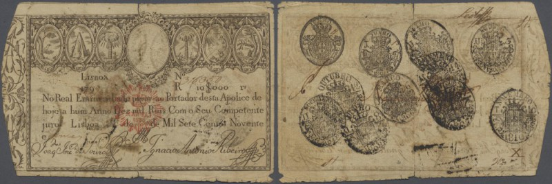 Portugal: 10.000 Reis 1828 P. 41, stronger used, border wear, tears in paper but...